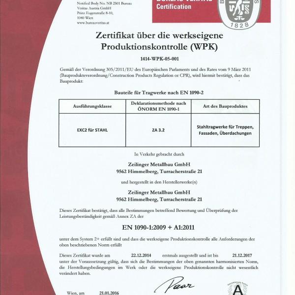 Zertifikat EN 1090